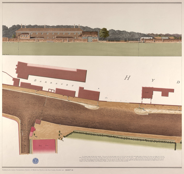 Hyde Park showing Army Barracks